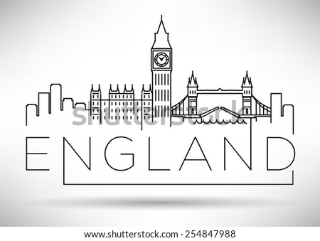 England Line Silhouette Typographic Design - stock vector