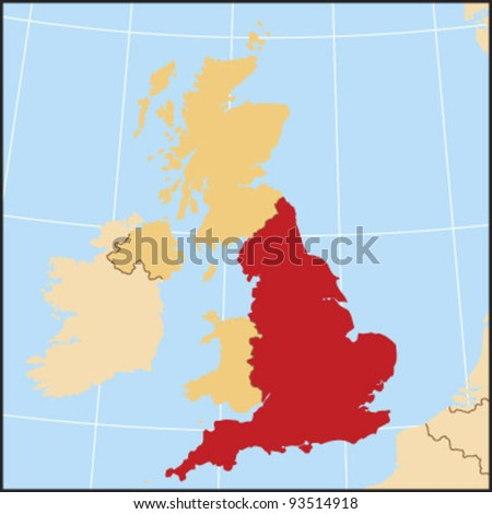 England Locate Map - stock vector