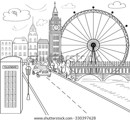 City Illustration Hand Drawn Ink Line 379424503