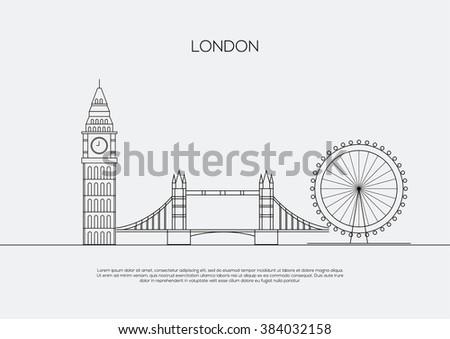 England London city line art  vector background.   - stock vector