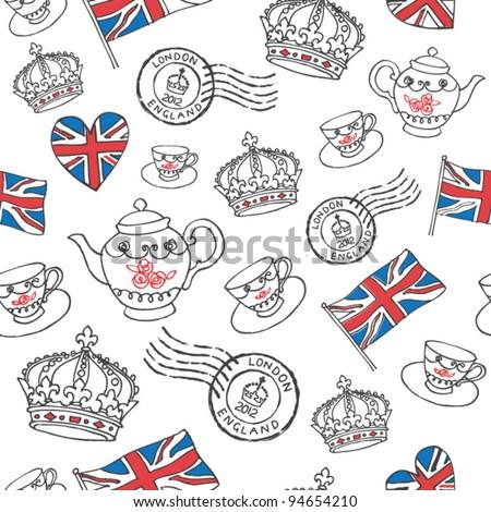 England London drawing seamless vector - stock vector