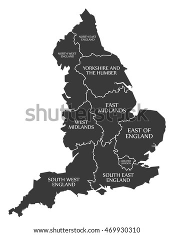 England Map Labelled Black Stock Vector Shutterstock - England map