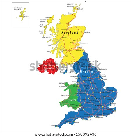 Englandscotlandwales north ireland map vector de stock150892436 englandscotlandwales and north ireland map gumiabroncs Images