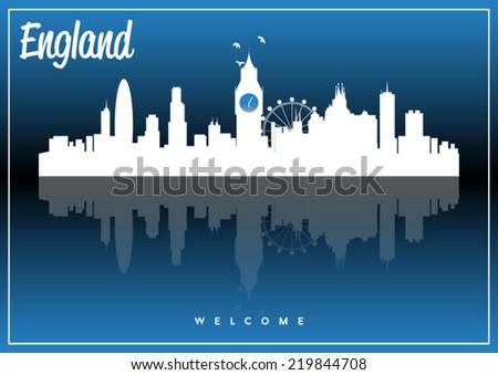 England skyline silhouette vector design on parliament blue background. - stock vector