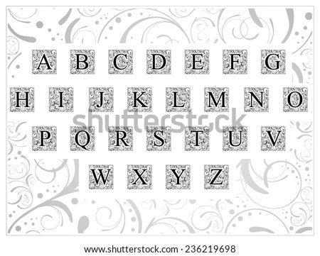 English Alphabet Decorative Font With Floral Vintage Elements Created By Myself (In Lettering Used Free Font - Times New Roman) - stock vector