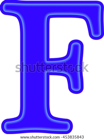 English Alphabet Education Blue Letter F Stock Vector