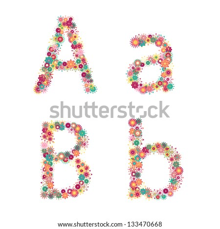 English alphabet from flower letters. Vector colorful flower font.