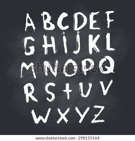 English alphabet / hand-drawing / vector / white letters on a blackboard