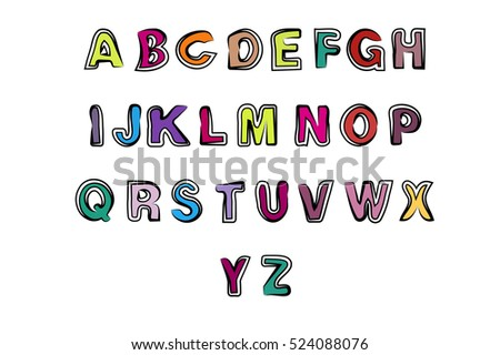 English Alphabet Lettering Colored Letters Font In A Cartoon Style Fun