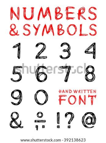 English Alphabet Numbers Symbols Hand Drawn Stock Vector 2018