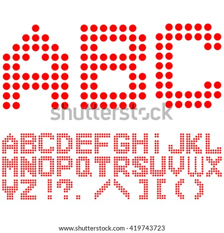 English alphabet red