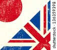 English and Japan grunge Flag. this flag represents the relationship between UK union and Japan - stock