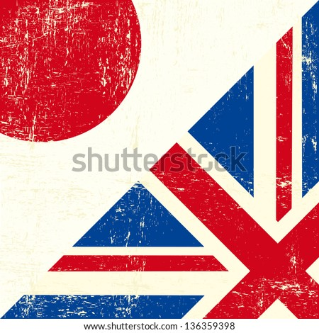 English and Japan grunge Flag. this flag represents the relationship between UK union and Japan