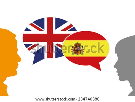 English and Spanish Connection - stock vector