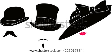 English bowler hat, cylinder, moustache for a real gentleman and womens elegant hat with bowknot for ladies and lips - stock vector
