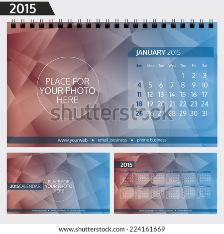 English Calendar 2015 Template Calendar Design Stock Vector