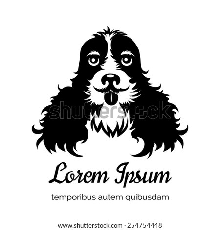 English cocker spaniel black dog logo. Veterinary clinic and a puppy, advertising and company. Vector illustration - stock vector