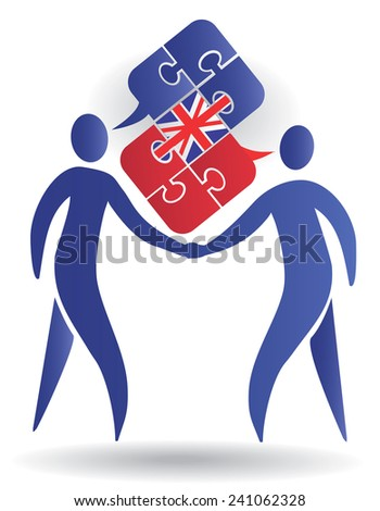 English Conversation. Two male silhouettes and Puzzle bubble talk with a British flag symbolizing English conversation. Vector illustration - stock vector