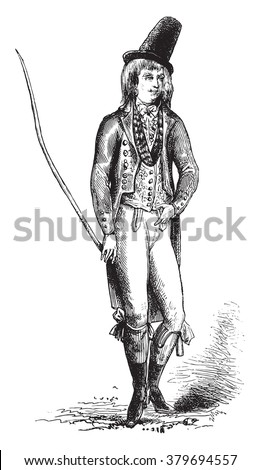 English Costume 1792, vintage engraved illustration. Magasin Pittoresque 1880.