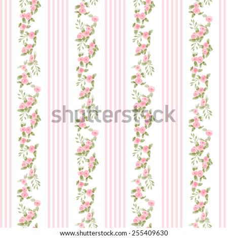 english floral pattern with stripes. vector floral vintage wallpaper - stock vector