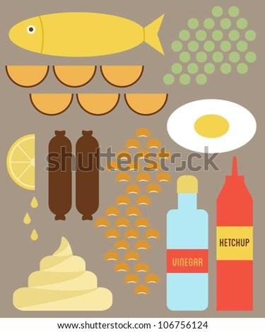 English food - stock vector
