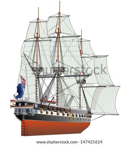 English frigate of the 18th eyelid - stock vector