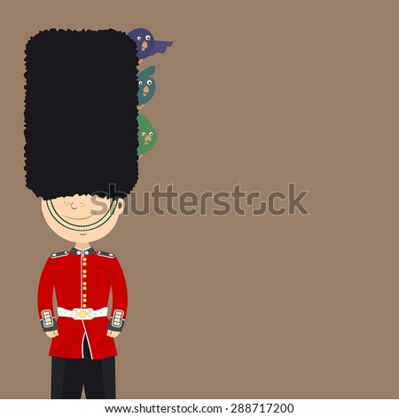 English guard (an Englishman) is on duty. Funny birds sitting in his cap. Background - stock vector