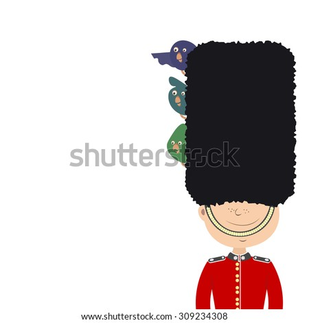 English guard (an Englishman) is on duty. Funny birds sitting in his cap. White background - stock vector