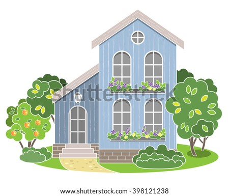 English house facade. Vector illustration. Colorful Residential House. Exterior design, front view.