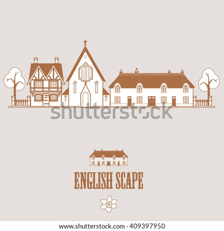 English Landscape Church Farmhouse Cottage Vector Stock