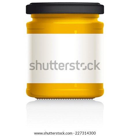 English Mustard jar, with blank white label, vector visual illustration, Drawn with mesh tool. Fully adjustable & scalable. - stock vector