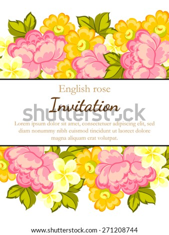 English rose. Romantic botanical invitation. Greeting card with floral background. - stock vector