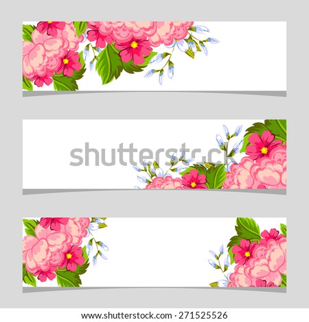 english rose three floral banners flower stock vector 271525526 shutterstock. Black Bedroom Furniture Sets. Home Design Ideas