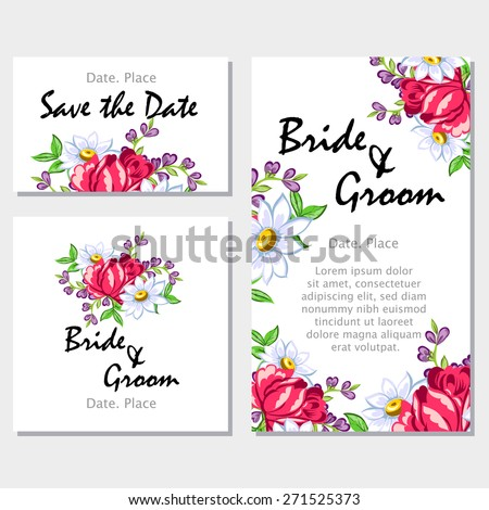 Wedding Invitation Cards With Floral Elements Flower Vector Background