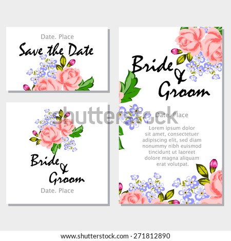 English rose wedding invitation cards floral stock vector 271812890 english rose wedding invitation cards with floral elements flower vector background stopboris Image collections