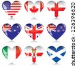 English-speaking countries' flags buttons in a shape of heart. Each one on a separate layer. - stock photo