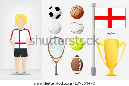 English sportswoman with sport equipment collection vector illustrations - stock vector