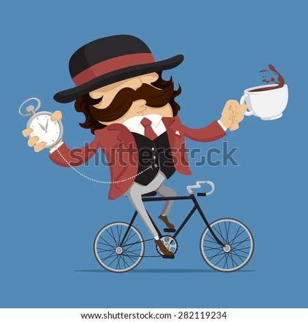 englishman with a cup of tea and watch on the bike funny