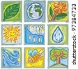Engrave symbols about nature in full color. Set of nine different ones - stock vector