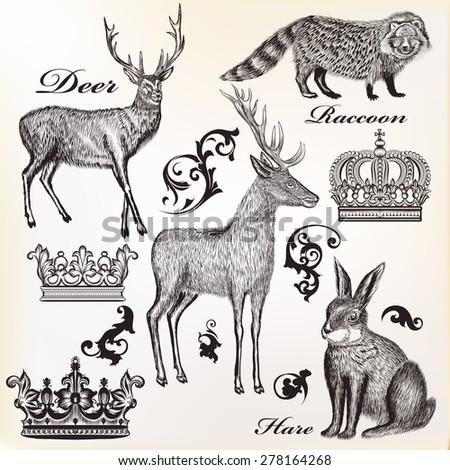 Engraved animals vector set - stock vector