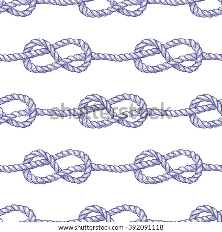 Engraved eternity eight knot, vector seamless pattern - stock vector