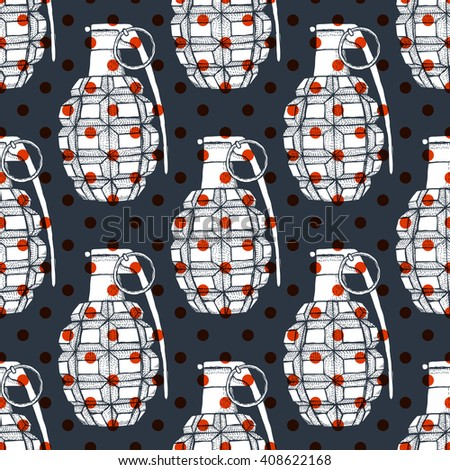 Engraved grenade in vintage style, vector seamless pattern with polka dot - stock vector