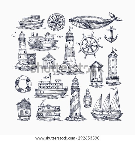 Engraved nautical elements. Sea theme. Vector illustration - stock vector