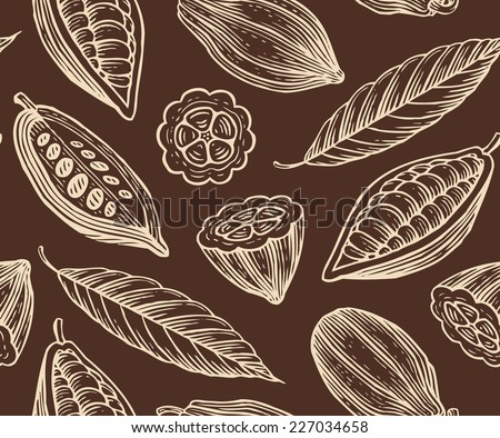 engraved pattern of leaves and fruits of cocoa beans - stock vector