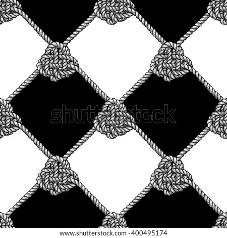 Engraved pattern with ropes in vintage style, vector tile - stock vector
