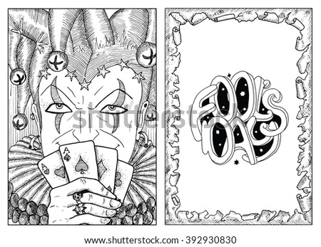 Engraved portrait of smiling Joker holding playing cards and border of torn paper with lettering. Line art hand drawn vector illustration and graphic sketch. Doodle with text. Coloring book page.  - stock vector