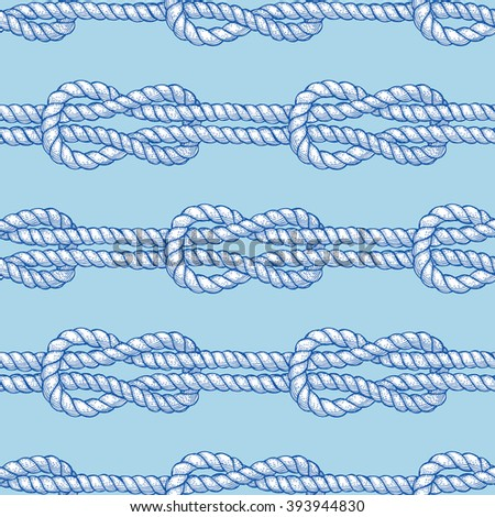 Engraved sailor knot in vintage style, vector seamless pattern - stock vector