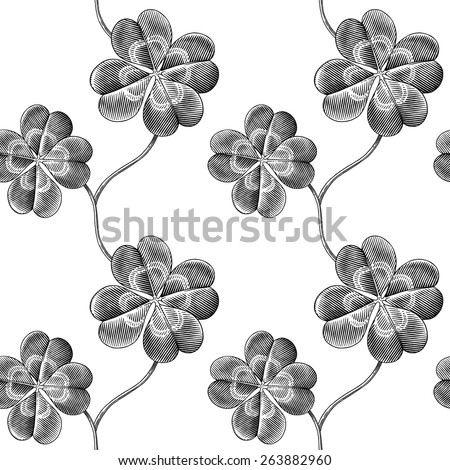 Engraved seamless pattern with four leaf clover - stock vector
