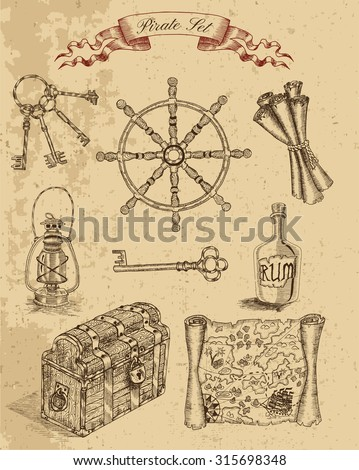 Engraved set with pirate objects: trunk, ship wheel, keys, pirate map. Hand drawn illustration
