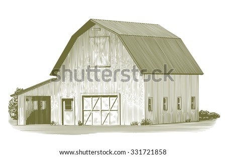 Engraved-style illustration of an old barn. - stock vector